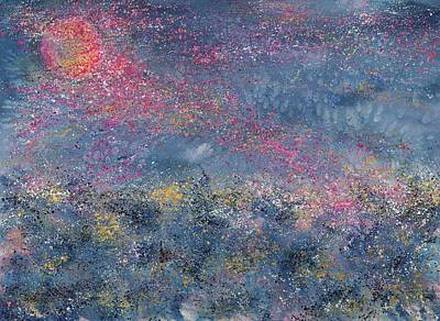 Phlox Painting - April Full Pink Moon by Robin Samiljan
