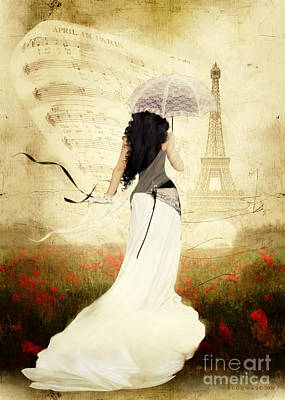Sepia Digital Art - April In Paris by Shanina Conway
