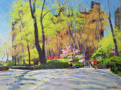 Painting - April Morning In Carl Schurz Park by Peter Salwen