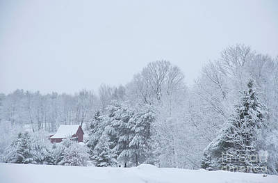 Photograph - April Snow And Red Barn by Alana Ranney