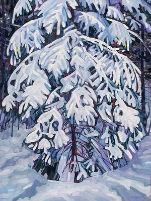 Snowed Trees Painting - April Snow by Phil Chadwick
