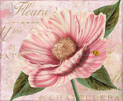 French Script Painting - April Striped Peony by Mindy Sommers