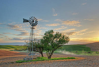 Photograph - Spring Sunset And Windmill by Doug Davidson