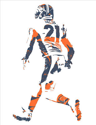 Mixed Media - Aqib Talib Denver Broncos Pixel Art 6 by Joe Hamilton