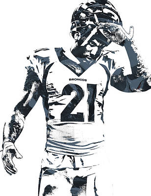 Team Mixed Media - Aqib Talib Denver Broncos Pixel Art by Joe Hamilton