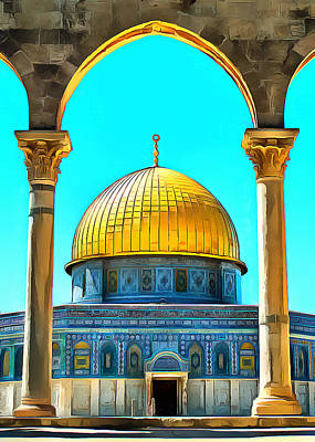 Photograph - Aqsa Mosque Arches by Munir Alawi