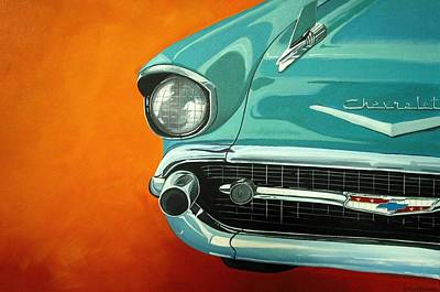 Folk Art Painting - Aqua 1957 Chevy Bel Air - Folk Art by Debbie Criswell