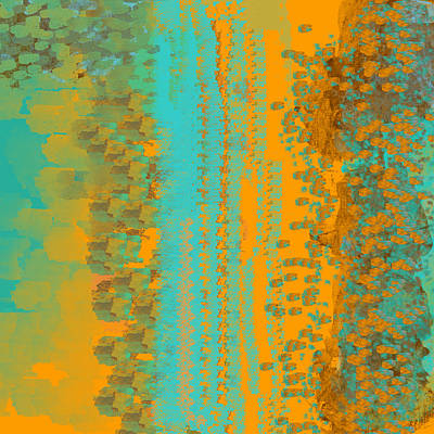 Digital Art - Aqua And Copper Abstract by Jessica Wright