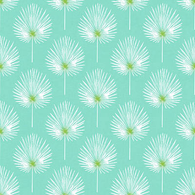 Tropical Mixed Media - Aqua And White Palm Leaves- Art By Linda Woods by Linda Woods