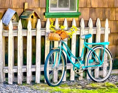 Aqua Antique Bicycle Along Fence Art Print