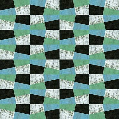 Op Art Painting - Aqua Black And White by Michelle Calkins