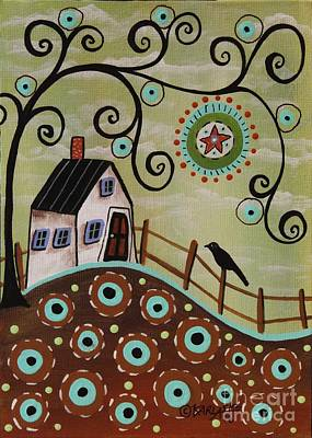 Folk Art Painting - Aqua Blooms by Karla Gerard