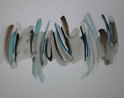 Aqua Blue And Brown Art Print by B L Qualls