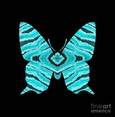 Digital Art - Aqua Blue Butterfly  by Rachel Hannah