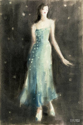 Painting - Aqua Blue Evening Dress by Beverly Brown Prints