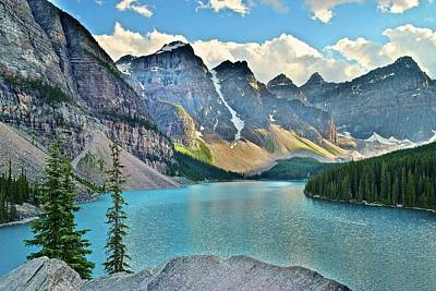 Photograph - Aqua Blue Moraine Lake by Frozen in Time Fine Art Photography