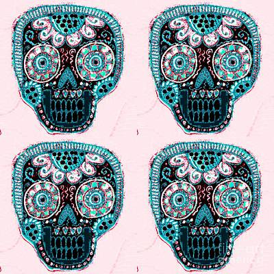Mixed Media - Aqua Blush Dod Sugar Skull  by Sandra Silberzweig