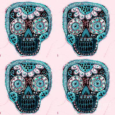 Mixed Media - Aqua Blush Dod Sugar Skull  by Sandra Silberzweig
