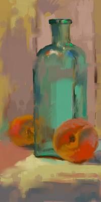 Digital Art - Aqua Bottle by Donna Shortt