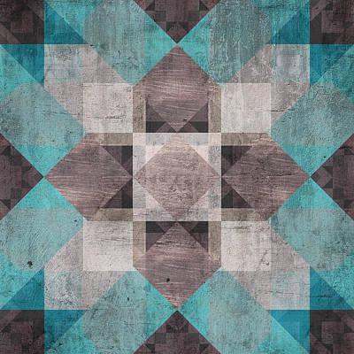 Quilt Blue Blocks Digital Art - Aqua Brown Quilt by Oksana Ariskina