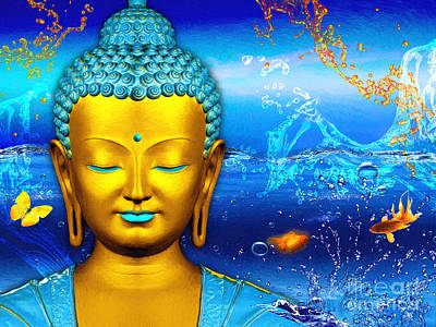 Spiritual Mixed Media - Aqua Buddha by Khalil Houri