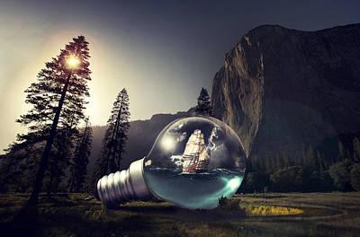 Bulb Digital Art - Aqua Bulb by Tiljo Joseph
