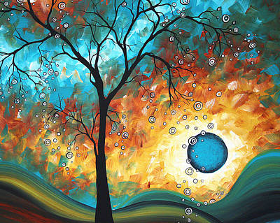 Modern Landscape Painting - Aqua Burn By Madart by Megan Duncanson