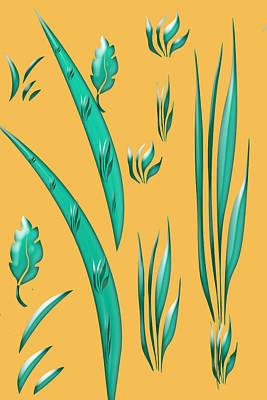 Digital Art - Aqua Design On Gold by Aimee L Maher Photography and Art Visit ALMGallerydotcom