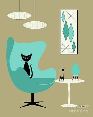 Digital Art - Aqua Egg Chair With Beehive Lamp by Donna Mibus