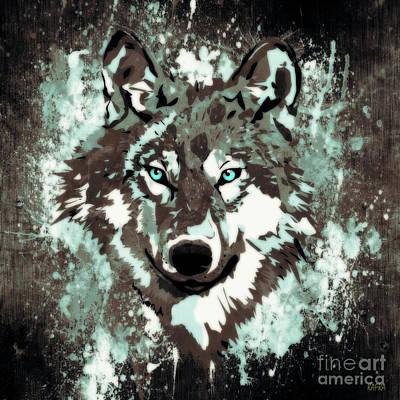 Wild Wolf Mixed Media - Aqua Eyes by KaFra Art