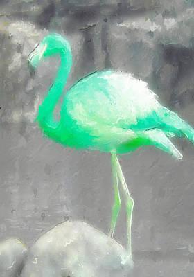 Aqua Flamingo Art Print