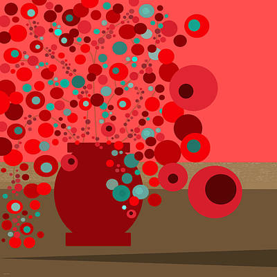 Digital Art - Aqua Flowers In A Red Vase - Square by Val Arie