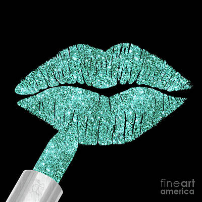 Sparkly Painting - Aqua Kiss, Lipstick On Pouty Lips, Fashion Art by Tina Lavoie