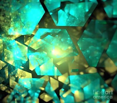 Digital Art - Aqua Gold Crystals by Kim Sy Ok