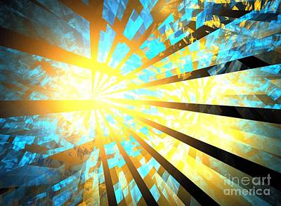 Digital Art - Aqua Gold Rays by Kim Sy Ok