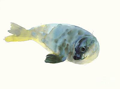 Seals Drawing - Aqua Green by Mark Adlington