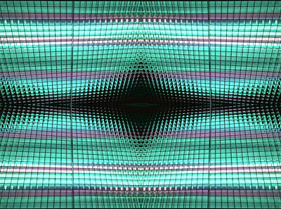 Photograph - Aqua Grid Abstract by Mary Bedy