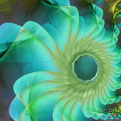 Fractal Painting - Aqua In Bloom by Mindy Sommers