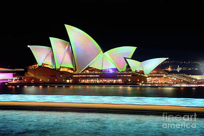 Photograph - Aqua Light Trails Before Pastel Opera House By Kaye Menner by Kaye Menner