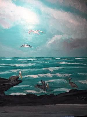 Herron Painting - Aqua Marine Seaside by Terry Tuley