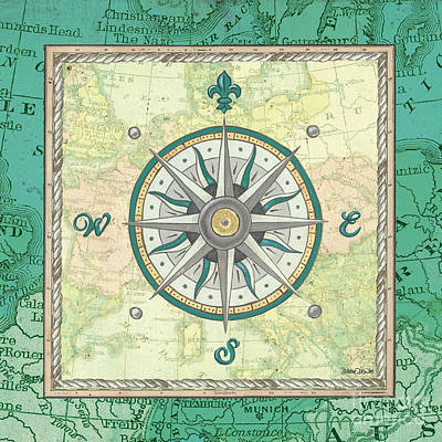 Vintage Map Painting - Aqua Maritime Compass by Debbie DeWitt
