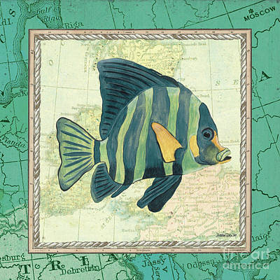 Vintage Map Painting - Aqua Maritime Fish by Debbie DeWitt