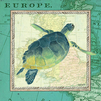 Turtle Wall Art - Painting - Aqua Maritime Sea Turtle by Debbie DeWitt