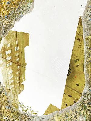 Mixed Media - Aqua Metallic Series Together Apart by Tony Rubino