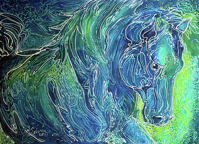 Aqua Mist Equine Abstract Art Print by Marcia Baldwin