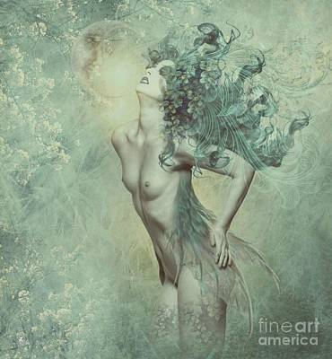 Digital Art - Aqua Moon  by Ali Oppy