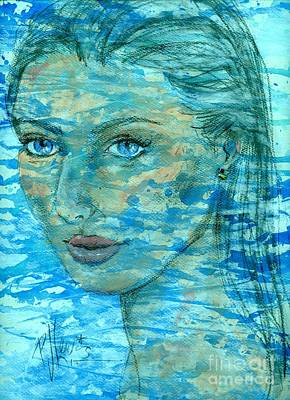 Beautiful. Pretty Drawing - Aqua by P J Lewis