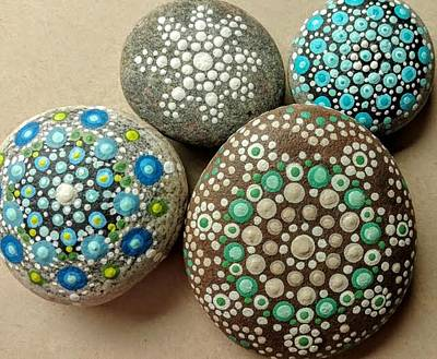 Painting - Aqua Pondering Pebbles by Kathy Sheeran