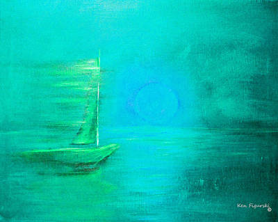 Sunset Painting - Aqua Sail by Ken Figurski