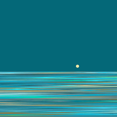 Abstract Seascape Digital Art - Aqua Sea by Val Arie